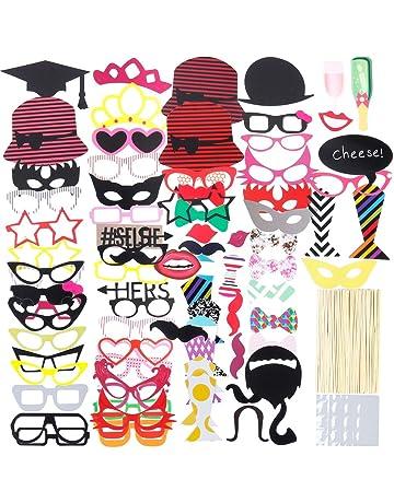316dccf8e4 Lictin 86Pcs DIY Photo Booth Atrezzo Favorecer Incluyendo Cómica Divertida  Creativa Bigotes Gafas Pelo Arcos Sombreros