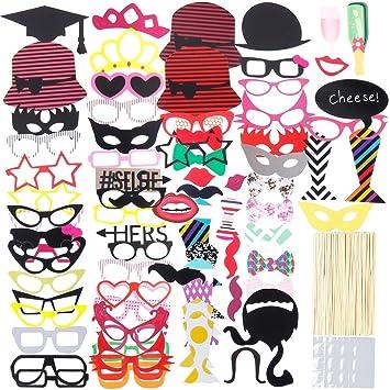 Lictin 86Pcs DIY Photo Booth Atrezzo Favorecer Incluyendo Cómica Divertida Creativa Bigotes Gafas Pelo Arcos Sombreros Labios para el Partido Boda ...