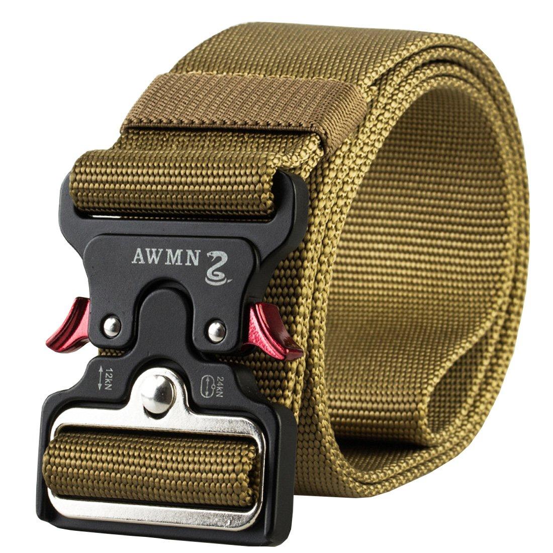 YIANO 1.89 Mens Tactical Nylon Webbing Belt Heavy Duty Belts Outdoor Sports
