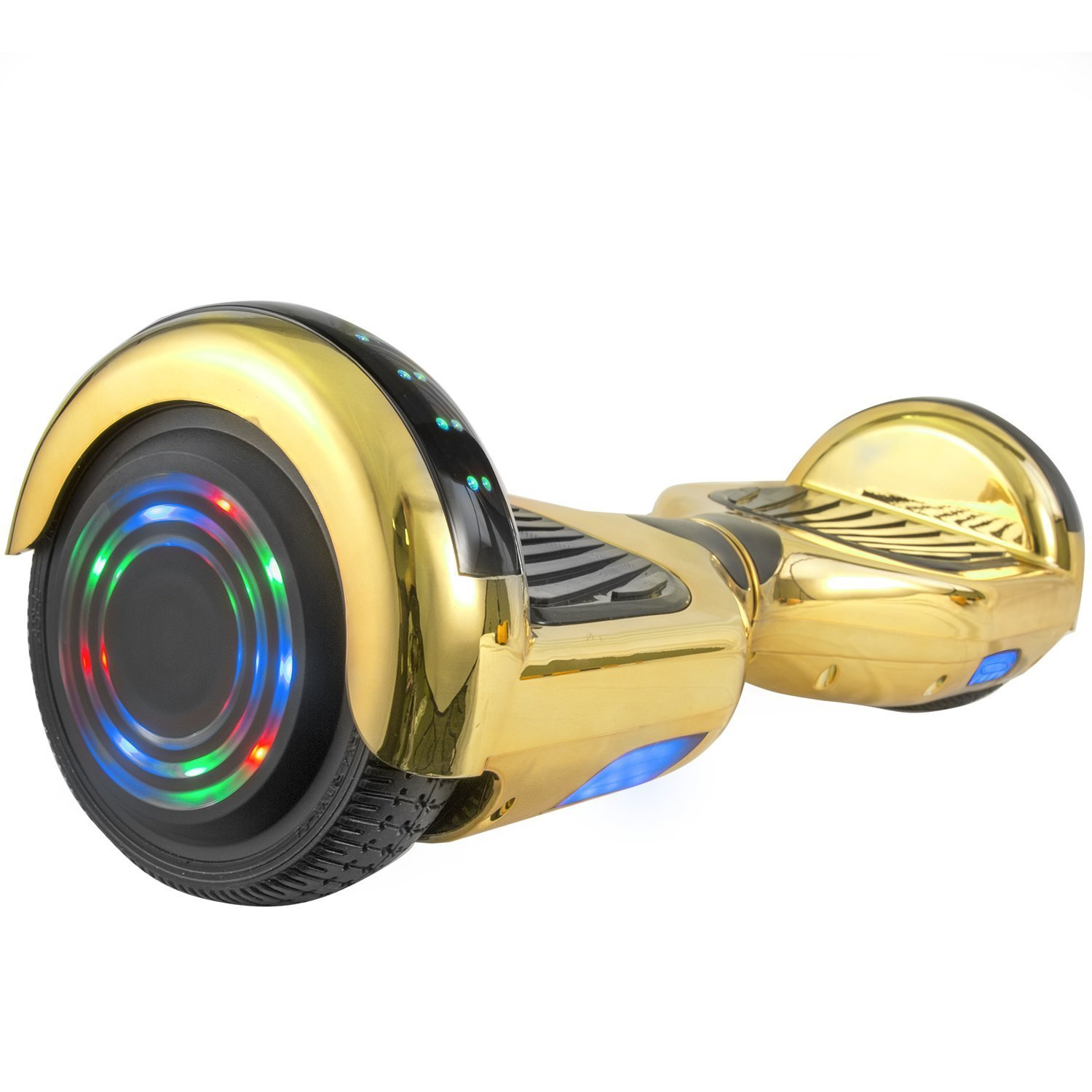WorryFree Gadgets Chrome Self-Balancing Hoverboard w/Bluetooth Speaker, UL2272 Certified - LED Lights (Gold)