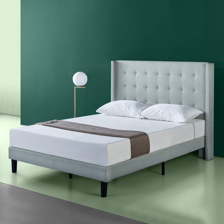 Zinus Fabric Bed Frame Double King Queen Platform Base Mattress Light Grey