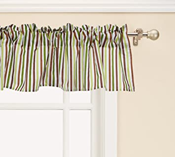bc45e4b6648d Image Unavailable. Image not available for. Color  Bedtime Originals Jungle  Buddies Green Brown Stripe Nursery Window Valance