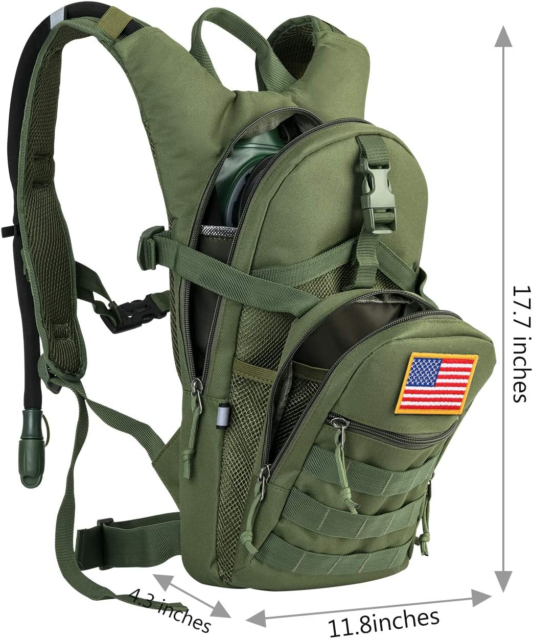 MOLLE Tactical Assault Pack for Hiking Biking Running Walking Climbing Outdoor Travel Gelindo Military Tactical Hydration Backpack with 2L Water Bladder Light Weight