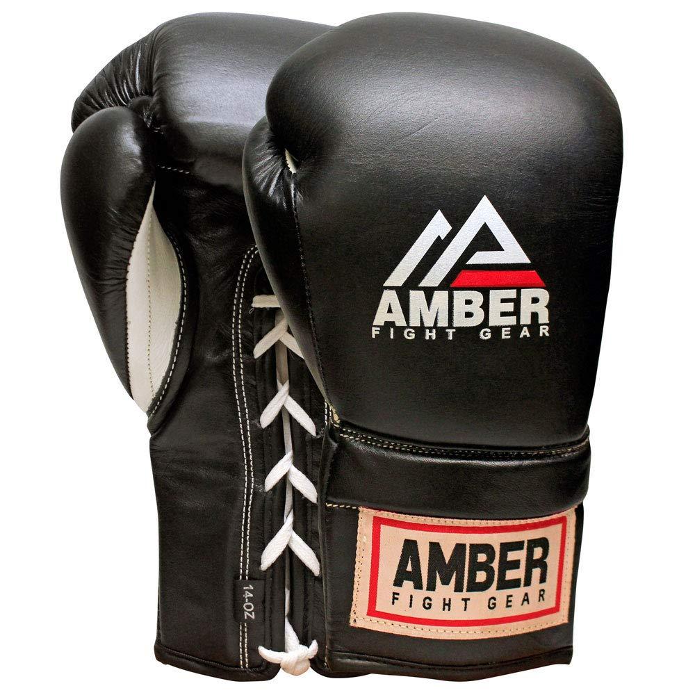アンバースポーツ用品メキシコスタイルプロフェッショナルLaceupトレーニンググローブ  14-Ounce