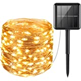 Solar Powered String Lights, 100 LED Copper Wire Lights, Fairy Lights, Indoor Outdoor Waterproof Solar Decoration Lights for Gardens, Home, Dancing, Party, Christmas (Warm White)