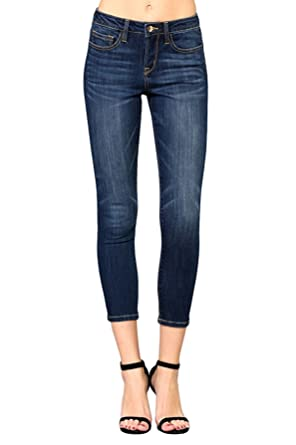 f3c81db0d1d Vervet by Flying Monkey Jeans Preux Mid Rise Dark Wash Ankle Skinny (25) at  Amazon Women s Jeans store