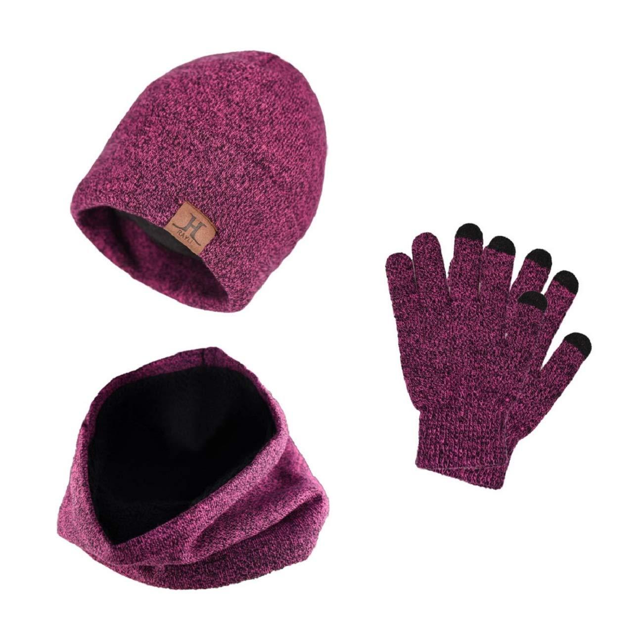 heekpek 3-in-1 Warme Reihe von Gestrickten Schal und Hut mit Dickem Futter und Screen Touchable Handschuhe neue Wintermode Trend fü r Mä nner und Frauen