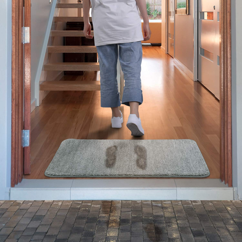 Lifewit Indoor Doormat Super Absorbent Mud and Water Low-Profile Mats Machine Washable Non Slip Rubber Entrance Rug for Front Door Inside Dirt Trapper Mats Shoes Scraper - Grey, 24'' x 35''