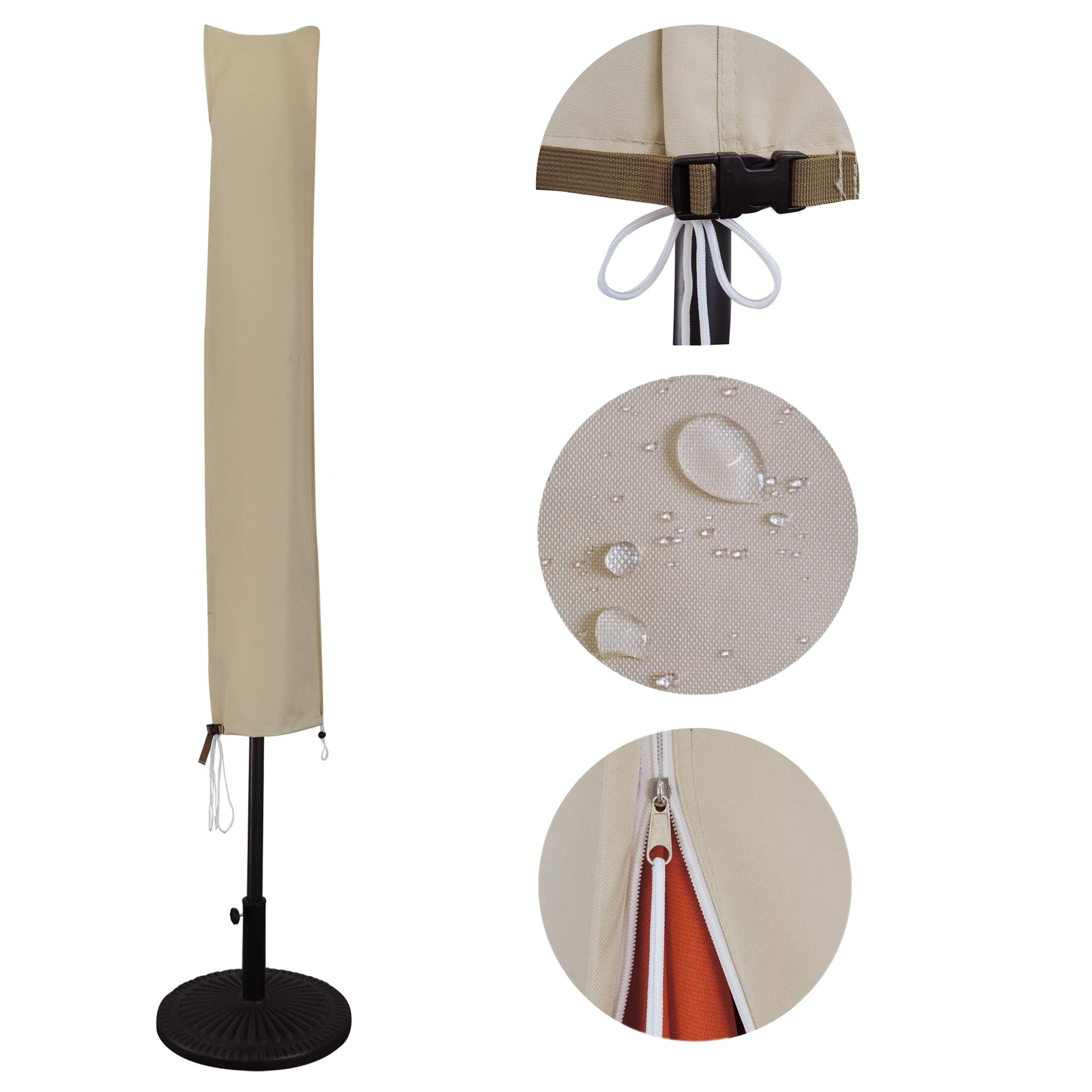 USspous Patio Umbrella Covers with Zipper and Support Rod Parasol Covers for 7FT to - 11FT Umbrellas, Oxford Fabric Water Resistant, Outdoor Waterproof - Beige