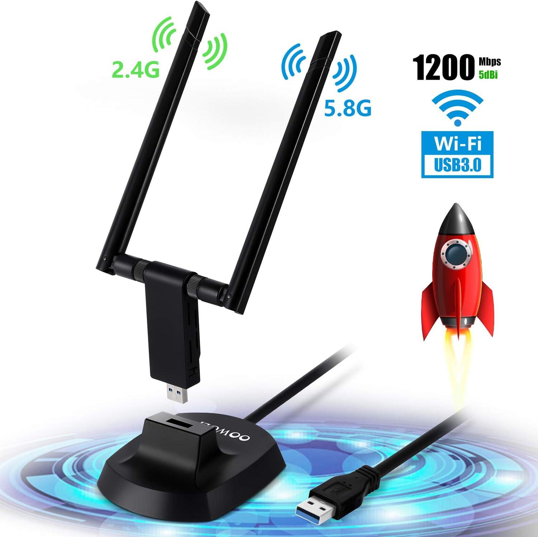OOWOLF WiFi Adaptador USB, 1200Mbps USB 3.0 2.4G/ 5.8G Dual Band Desmontable 5dBi Antena, Soporte PC/Escritorio/Laptop de Windows XP/Vista / 7/8/10, Mac