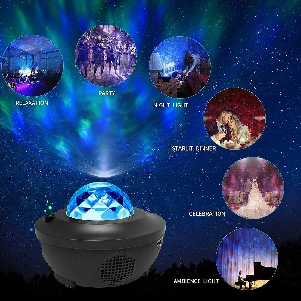 Sternprojektor LEDNight-Lichtprojektor Drehlicht Eingebauter Musiklautsprecher 10-Farben-360 /°