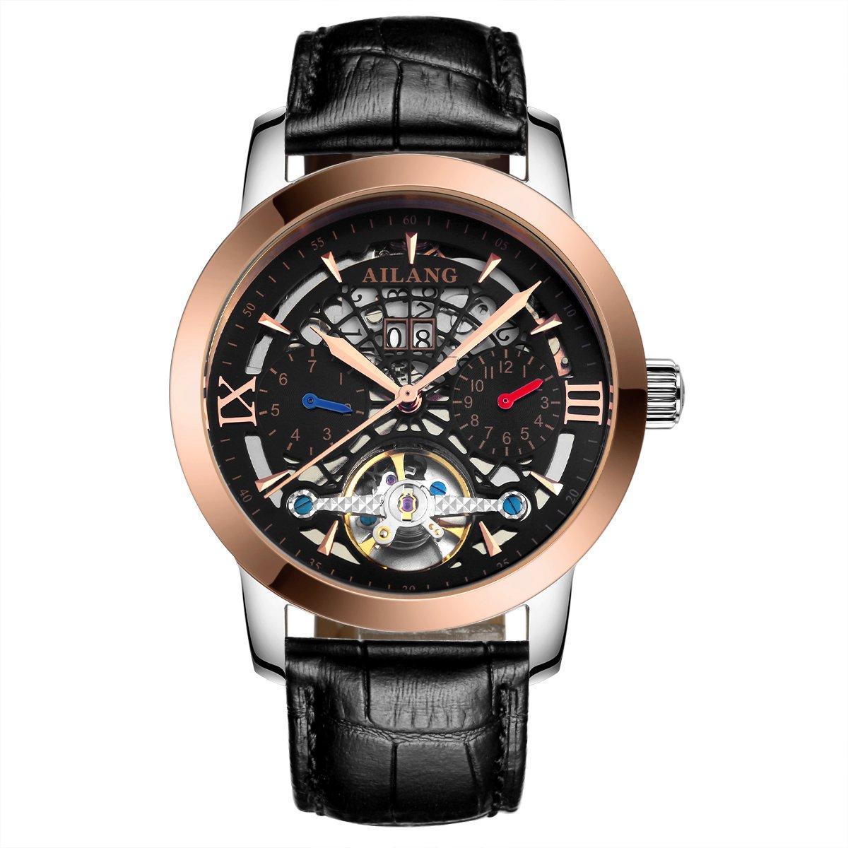 ailang 2606lkメンズ自動巻き自動機械スケルトンレザー腕時計 ブラック/ゴールド B071NQMJXG ブラック/ゴールド ブラック/ゴールド