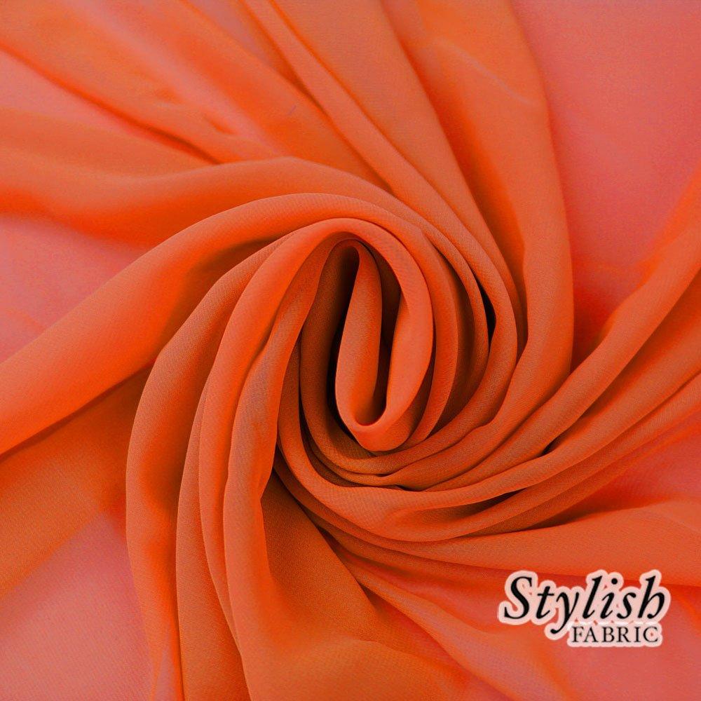 58 ORANGE Solid Color Sheer Chiffon Fabric by the Yard - 1 Yard by Stylishfabric   B00EXWNWGU