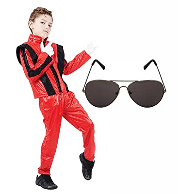 Boys Michael Jackson 80s Fancy Dress Costume with Aviator Sunglasses (7-9 years): Clothing