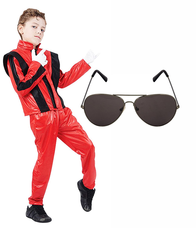 3e98044476574 Amazon.com  Boys Michael Jackson 80S Fancy Dress Costume With Aviator  Sunglasses Age 10-12  Clothing