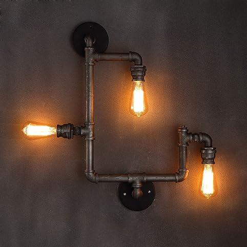 lingkai vintage industrial retro metall wasser rohr wand lampe mit f nf edison lichtquellen wand. Black Bedroom Furniture Sets. Home Design Ideas