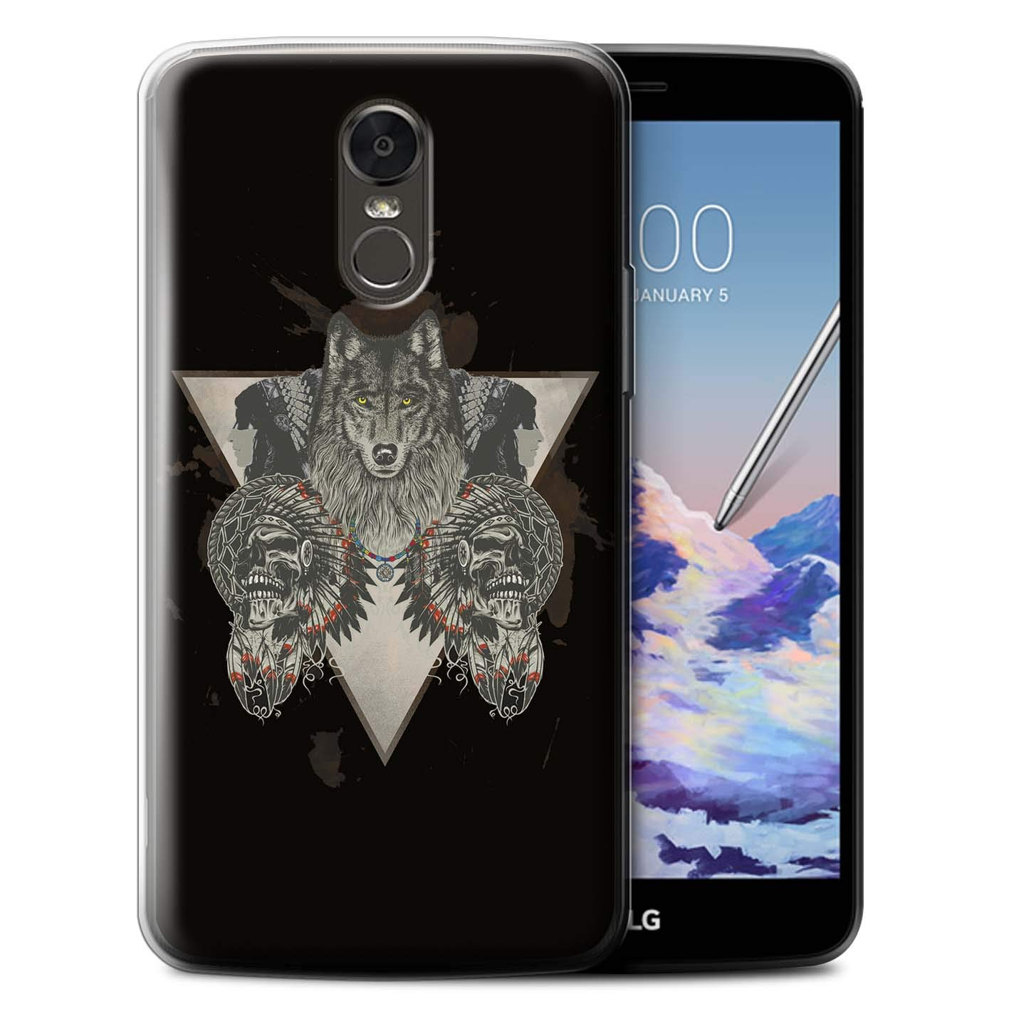 Phone Case for LG Stylus 3/Stylo 3/K10 Pro Wild Animal Predator Wolf Tribal Indian Skull Warrior Design Transparent Clear Ultra Soft Flexi Silicone Gel/TPU Bumper Cover
