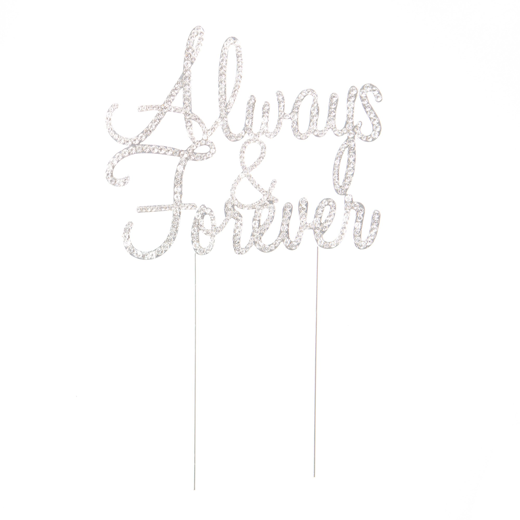 Ella Celebration Always and Forever Wedding Cake Topper, Silver Romantic Rhinestone Decoration (Always & Forever) (Silver) by Ella Celebration (Image #2)