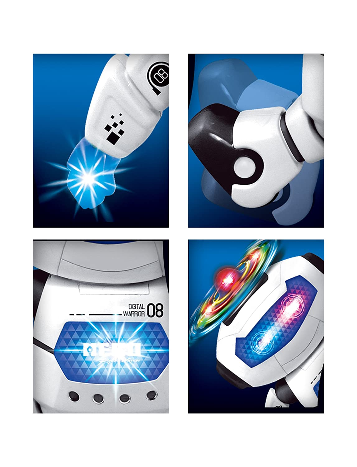 PowerTRC Electronic Walking Dancing Twirling 360 Robot Toys with Music and Lights