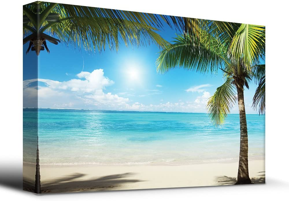 wall26 Tropical Blue Waters Framed by Palms - Canvas Art Home Art - 24x36 inches