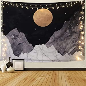 Joddge Mountain Tapestry Stars Tapestry Moon Tapestry Nature Landscape Tapestry Wall Hanging for Room(59.1 x 78.7 inches)