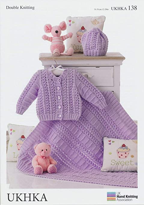 Double Knitting Pattern Matching Baby Cardigan Hat Blanket