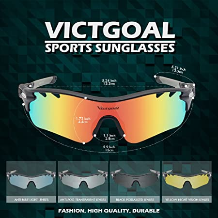e9e7ea545 Victgoal Sports Sunglasses Polarized for Men and Women, 5 Interchangeable  Lenses Tr90 Frame UV400 Protection Fishing Driving Running Golf Cycling  Glasses ...