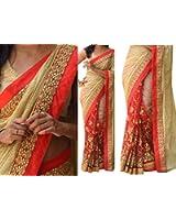 Vinayak Textile Women's Lycra DueDrop Silk Party Wear Saree