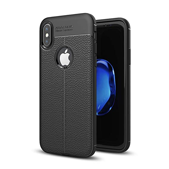 Zoint Auto Focus Ultimate Experience Case for Apple iPhone Xs (2018)/ iPhone X (2017) Shockproof Leather Pattern Soft TPU Case - Black