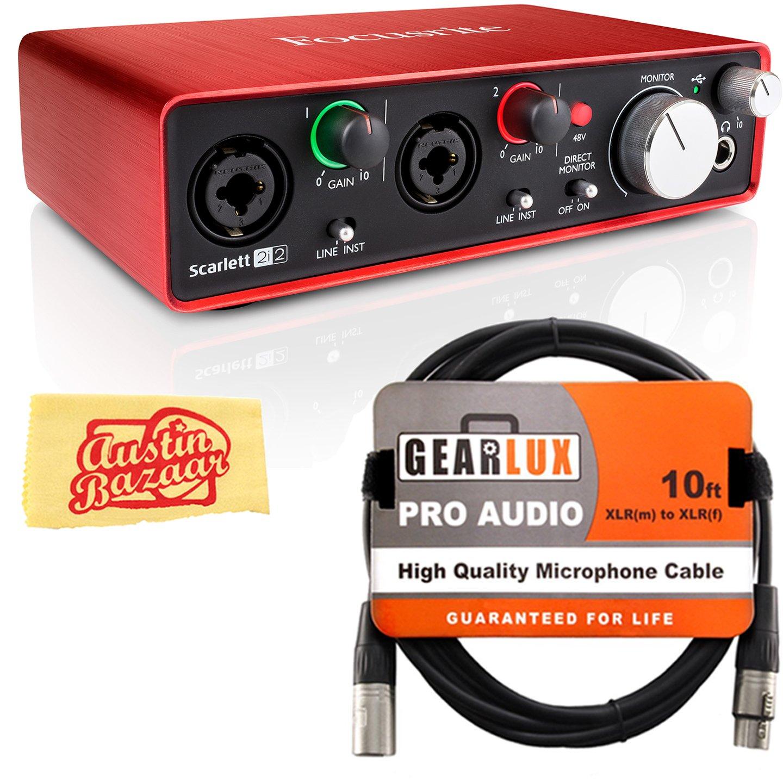 Focusrite Scarlett 2i2 USB Audio Interface Bundle with XLR Cable and Austin Bazaar Polishing Cloth