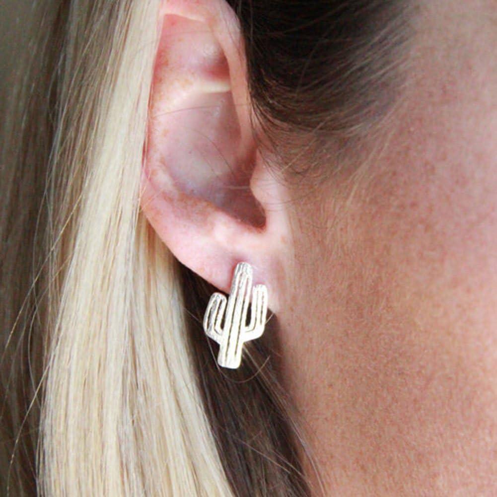 Hosaire Boucles doreilles de Forme de cactus mignonne et Mode en oreilles perc/ées Bijoux Cadeaux de lamour-Argent