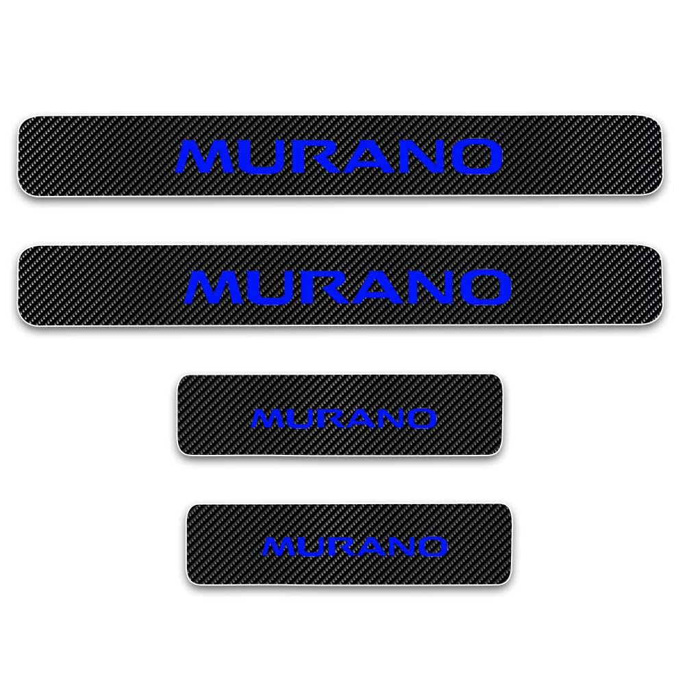 for Nissan Murano 4D M Car Carbon Fiber Door Sill Sticker Entry Guard Scuff Plate Pedal Protect Styling Kick Plates Anti Scratch Threshold Cover 4Pcs White