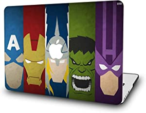 "Case for MacBook Air 13 Inch - L2W Laptop Accessories Hard Plastic Printed Cover Compatible with Mac Air 13.3"" with Two USB 3 Ports, Model: A1466/A1369, Protection Shell of Design Superheroes"