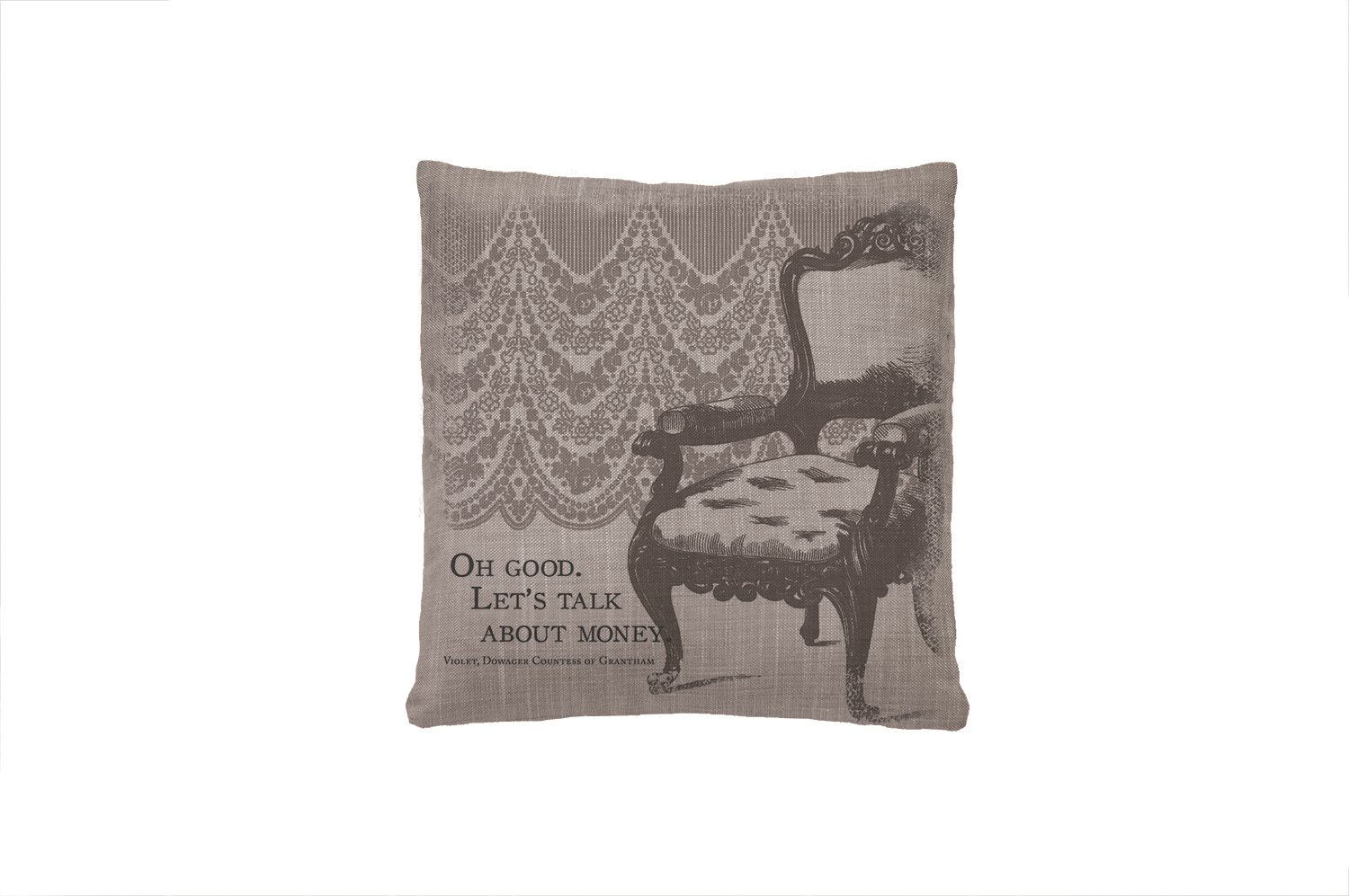 Heritage Lace Downton Abbey Iconic Talk About Money Pillow Cover, 18 by 18-Inch, Gray