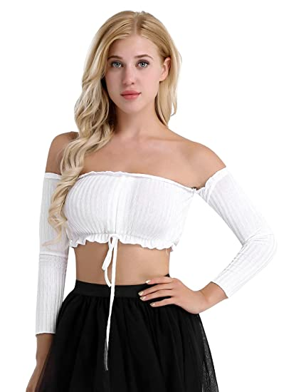 2b7fa0369b CHICTRY Women s Sexy Strapless Long Sleeve Frill Knot Front Ribbed Tube  Crop Tops White X-