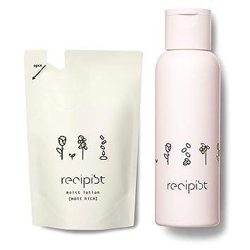 レシピスト しっかりうるおう化粧水 モアリッチ (とてもしっとり) 詰め替え用 180mL + 選べるボトル (ピンク) 自然由来成分