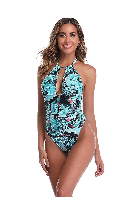 ZIYYOOHY Damen Badeanzug Tief V Ausschnitt R/ückenfrei Neckholder Einteilige Bauchweg Bademode Schlankheits Monokini