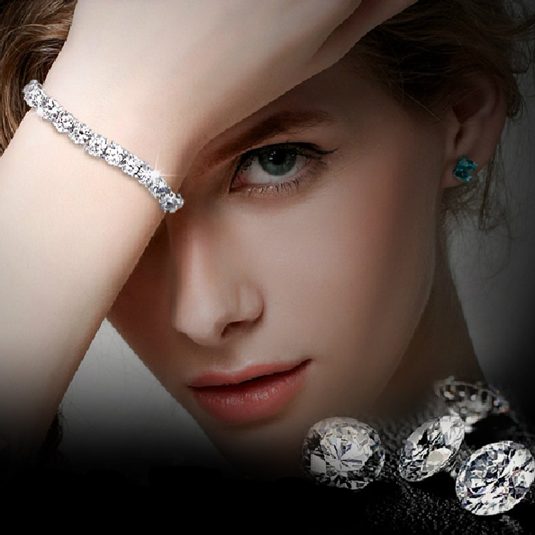 Neoglory Jewelry S925 Silver White Round-Cut Cubic Zirconia Classic Tennis Bracelet 7.7Inch by Neoglory (Image #2)