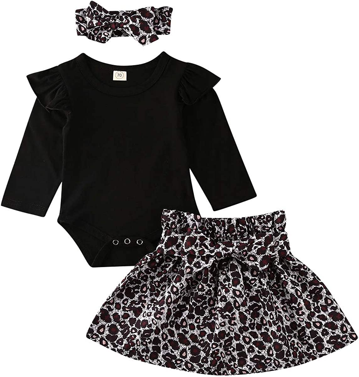 SUSSURRO Newborn Baby Girl Outfit Romper Headband Leopard Skirt Set Clothes