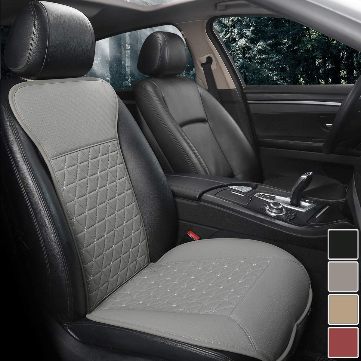 Black Panther 1 Piece Luxury PU Leather Front Car Seat Cover Protector Compatible with 95% Cars (Sedan/SUV/Pickup/Van), Triangle Quilted Design - Grey