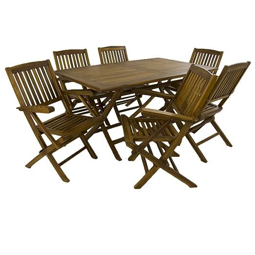 Edenjardi Conjunto para Exterior de Madera Teca, Mesa Rectangular 150 cm y 6 sillones Plegables, Madera Teca Grado A, Tratamiento al Agua aplicado