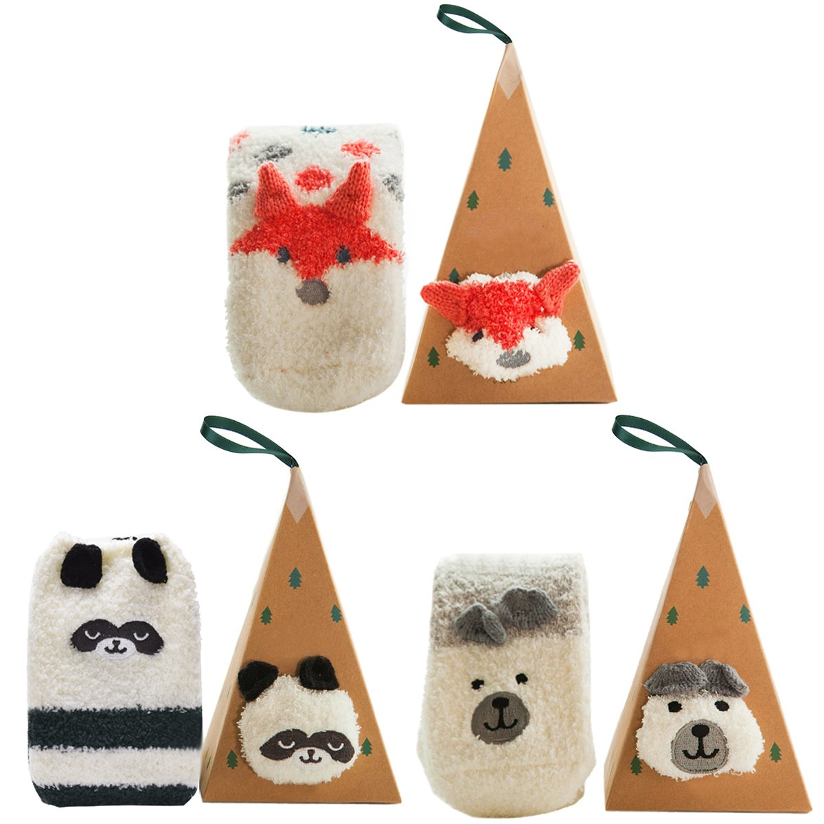 Christmas Fuzzy Socks, Aniwon 3 Pairs Cute Animal Natural Stretchy Novelty Gifts Stockings Crew Wool Funny Socks with Boxes for Women and Girls