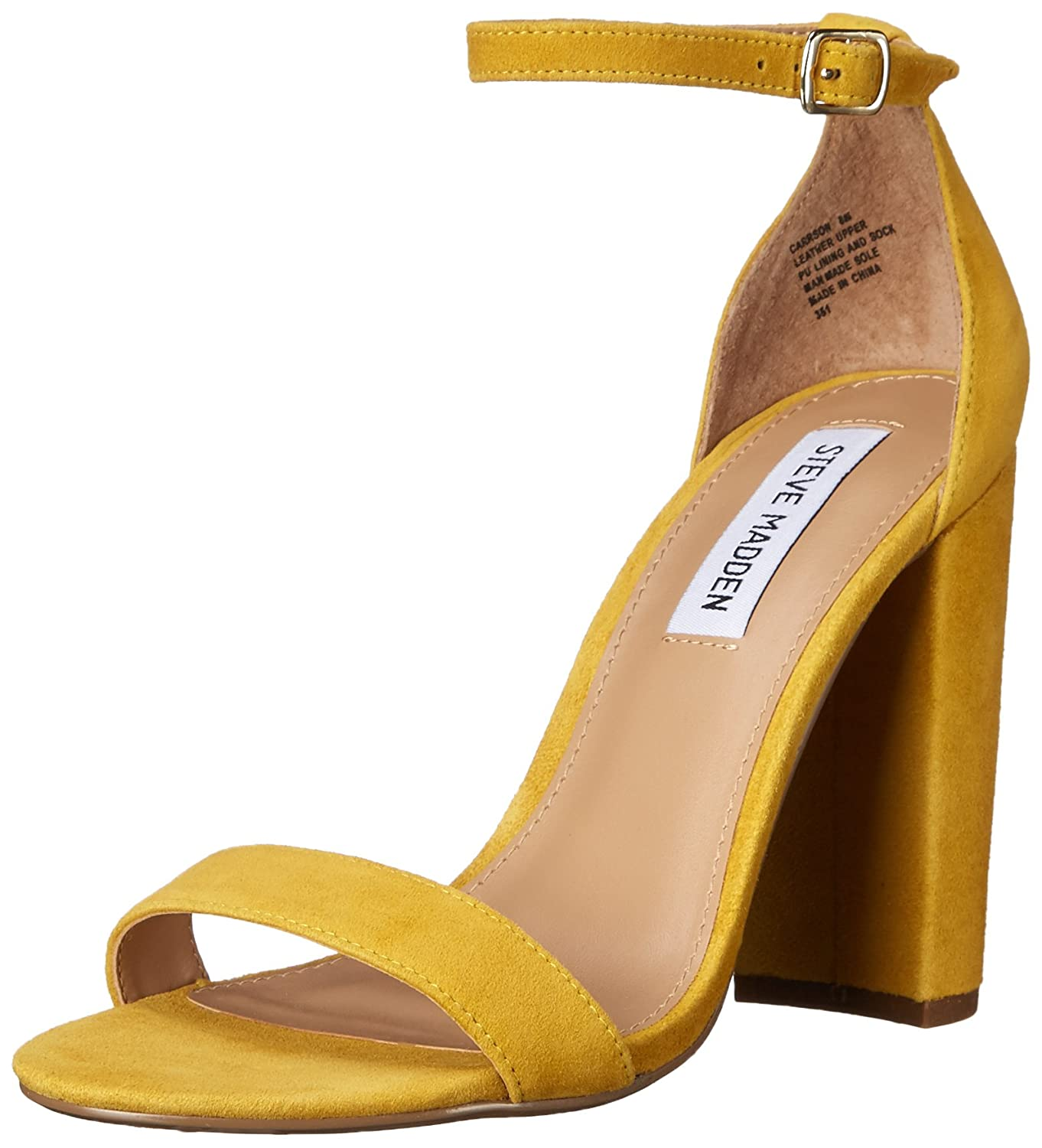 Steve Madden Women's Carrson Dress Sandal B0148IVM2E 5.5 B(M) US|Yellow Suede