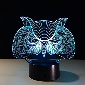 Lozse Touch Led Illusion Chouette 3d 7 Petit Lanterne Remote Lampe 80yPmwOnvN