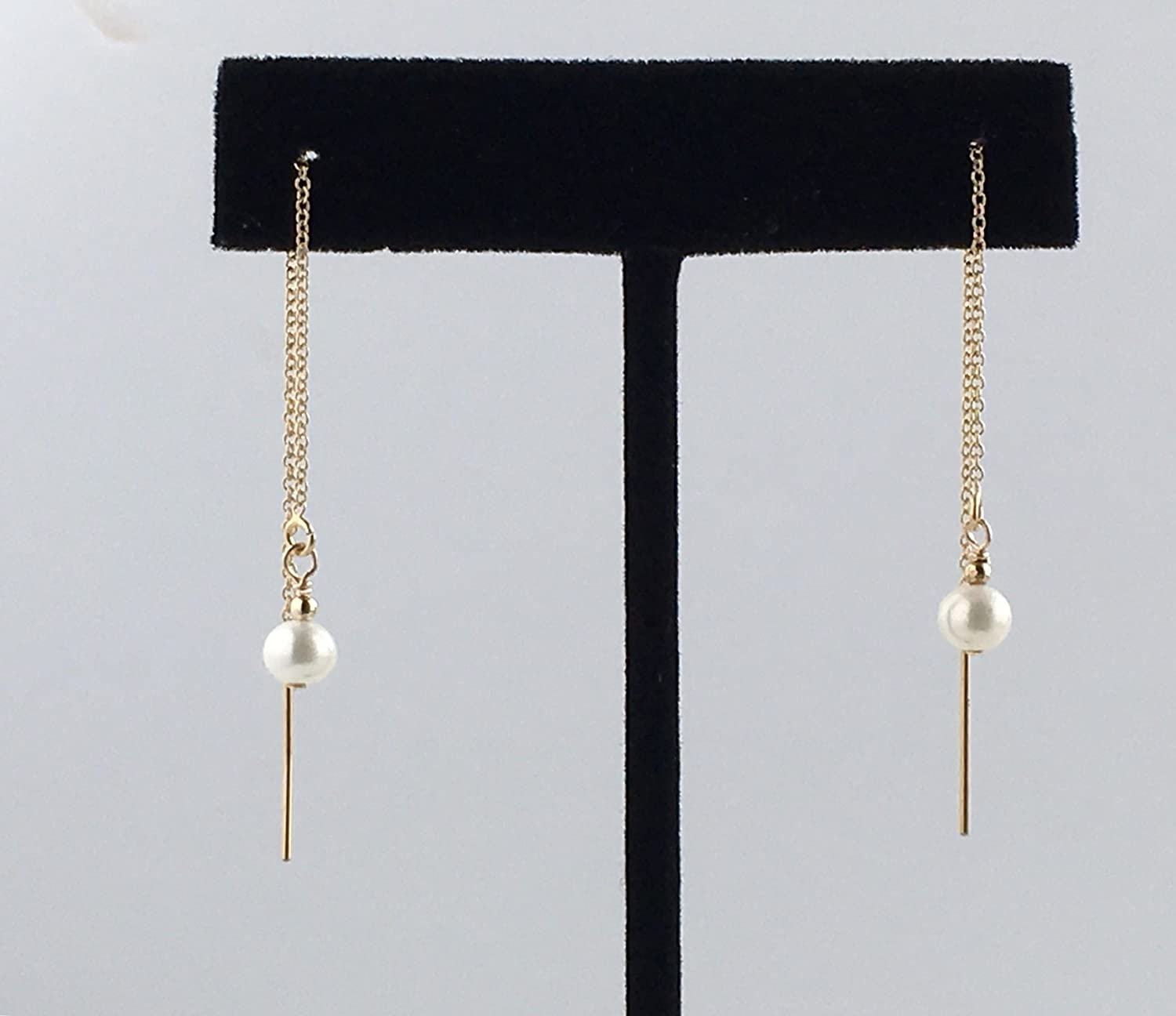 Cultured Freshwater Pearl Threader Earrings, Available in Gold, Rose Gold and Sterling Silver