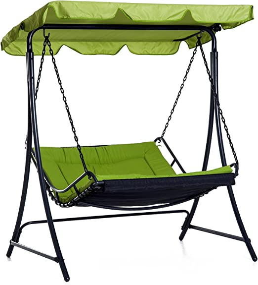 Heavy Duty Counter Stools, Outsunny Swing Chair Bed Canopy 2 Person Double Hammock Garden Bench Rocking Sun Lounger Outdoor Backyard Furniture With Cushion Green Amazon Co Uk Garden Outdoors
