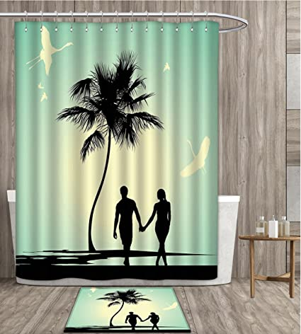 Sunsunshine Romantic Shower Curtain Customize Married Couple Walking On The Beach With Tropical Fauna And Flora