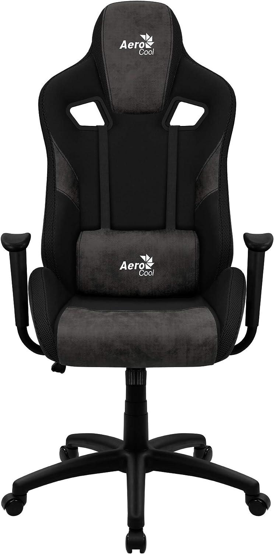 Aerocool Count Silla Gaming, AeroSuede Transpirable, Respaldo Ajustable, Negro
