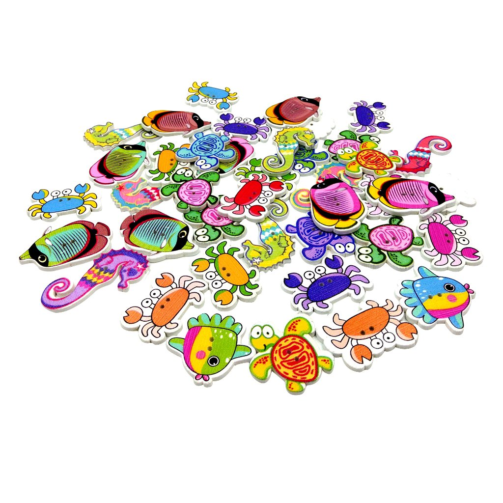 MagiDeal 100 Pezzi Bottoni di Legno in Taglia di Animale del Marino Tasti Stampati Colorati per Cucire