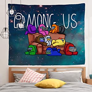 KARPOS Among Us Tapestry Galaxy Tapestry Blue Starry Sky Tapestry Universe Space Tapestry Wall Art and Home Decor for Bedroom, Living Room, Dorm Decor(59.1 x 59.1 in)